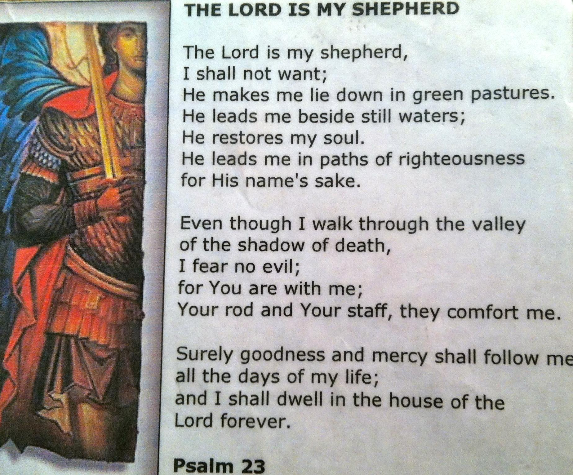 found in his fatigue pocket prayer card