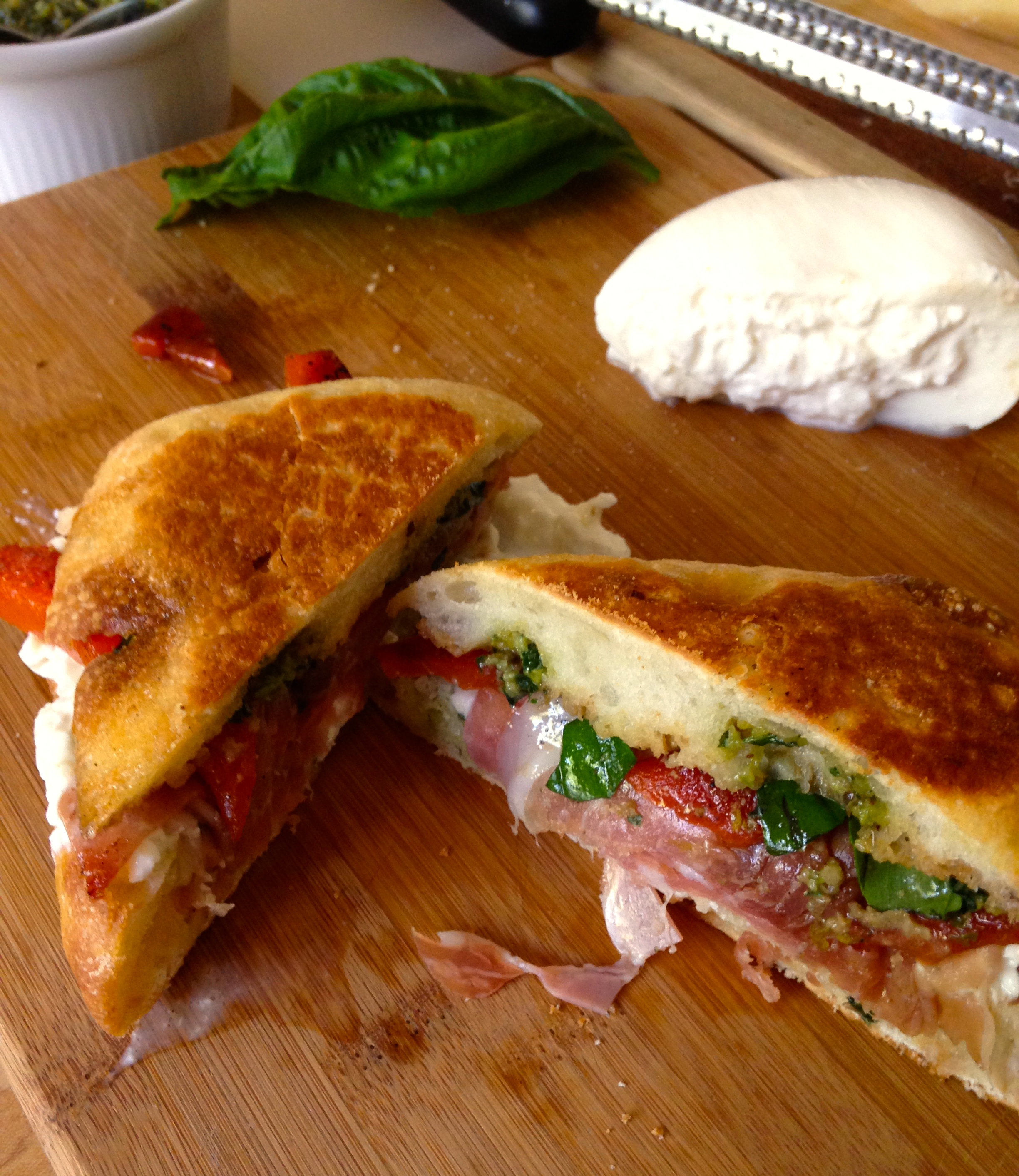 fresh mozzarella, proscuitto and roasted red peppers