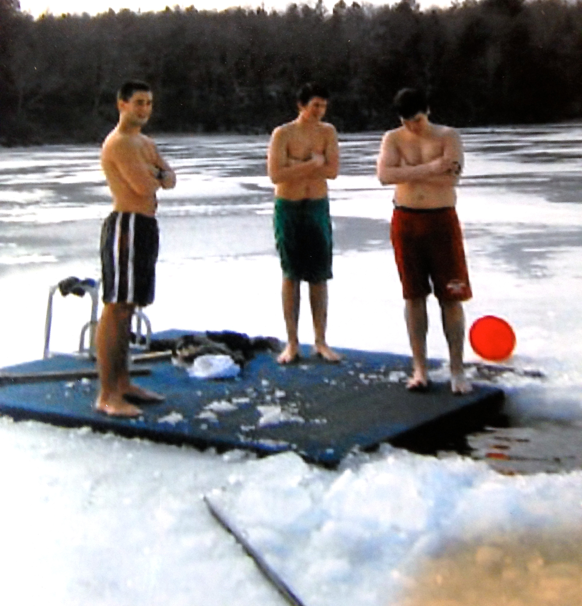 the annual plunge into a frozen Lake Quassapaug