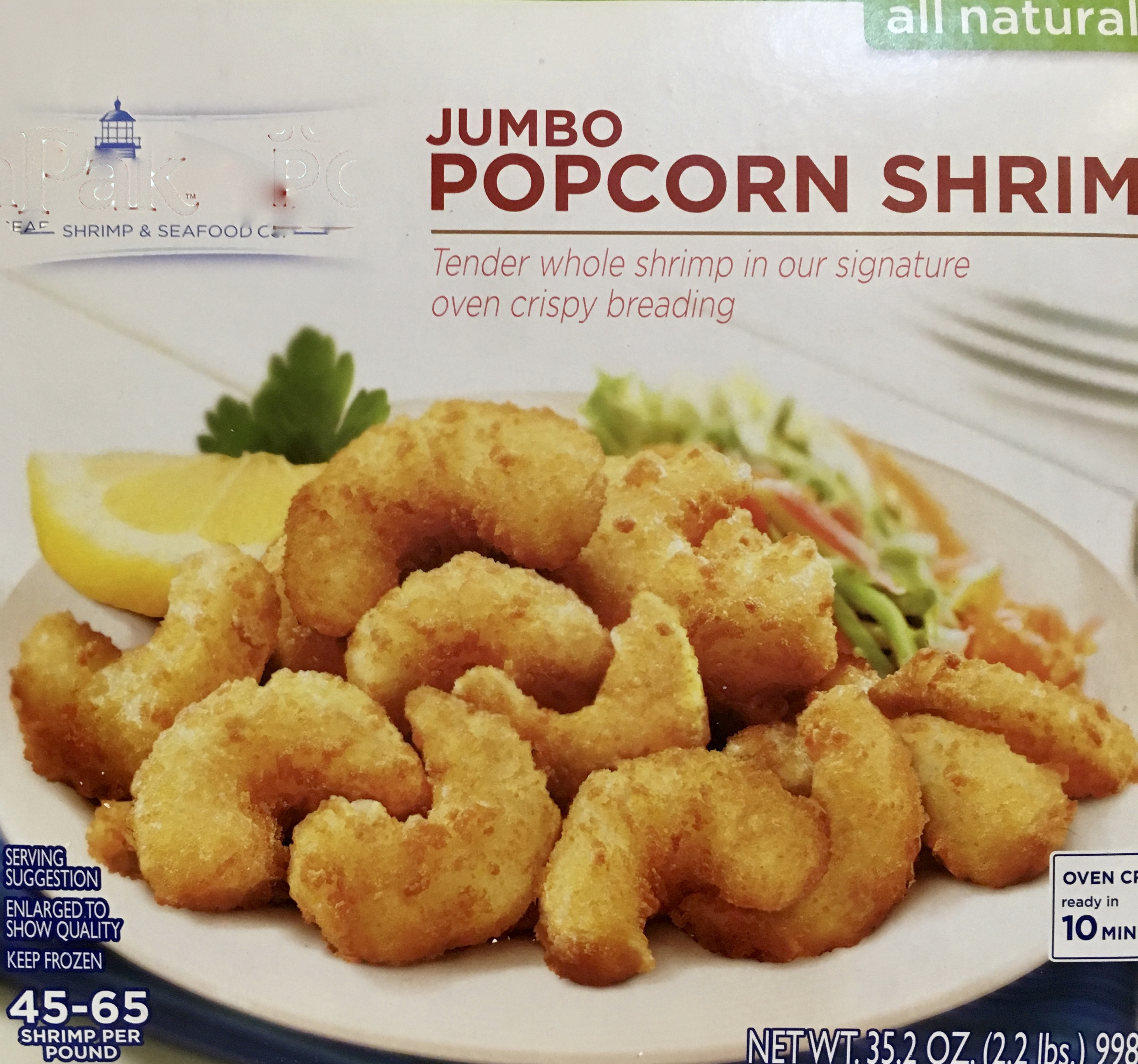 """""""all natural"""" small but tasty shrimp with a simple coating packaging"""