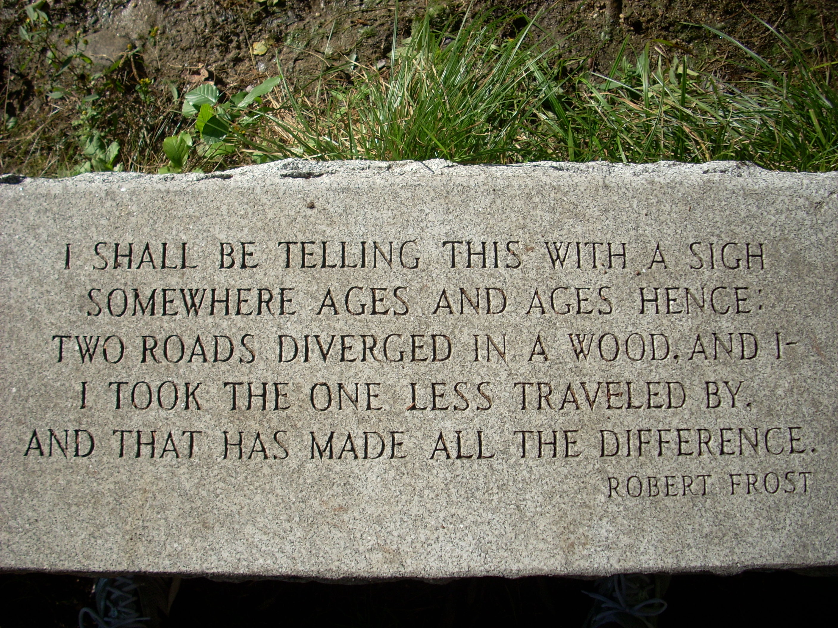 bench with Robert Frost poem engraved