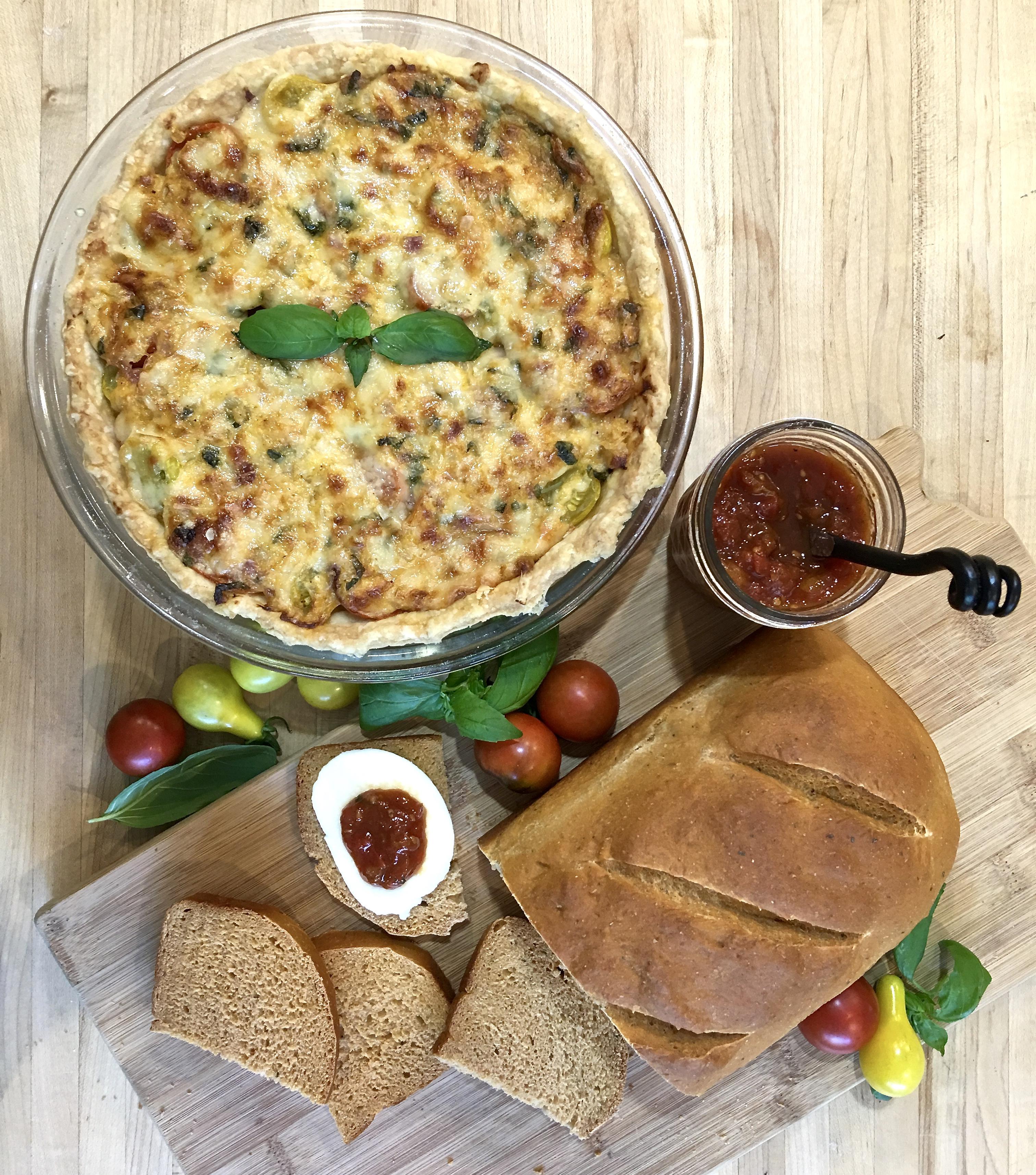 tomato pie, tomato jam and tomato bread