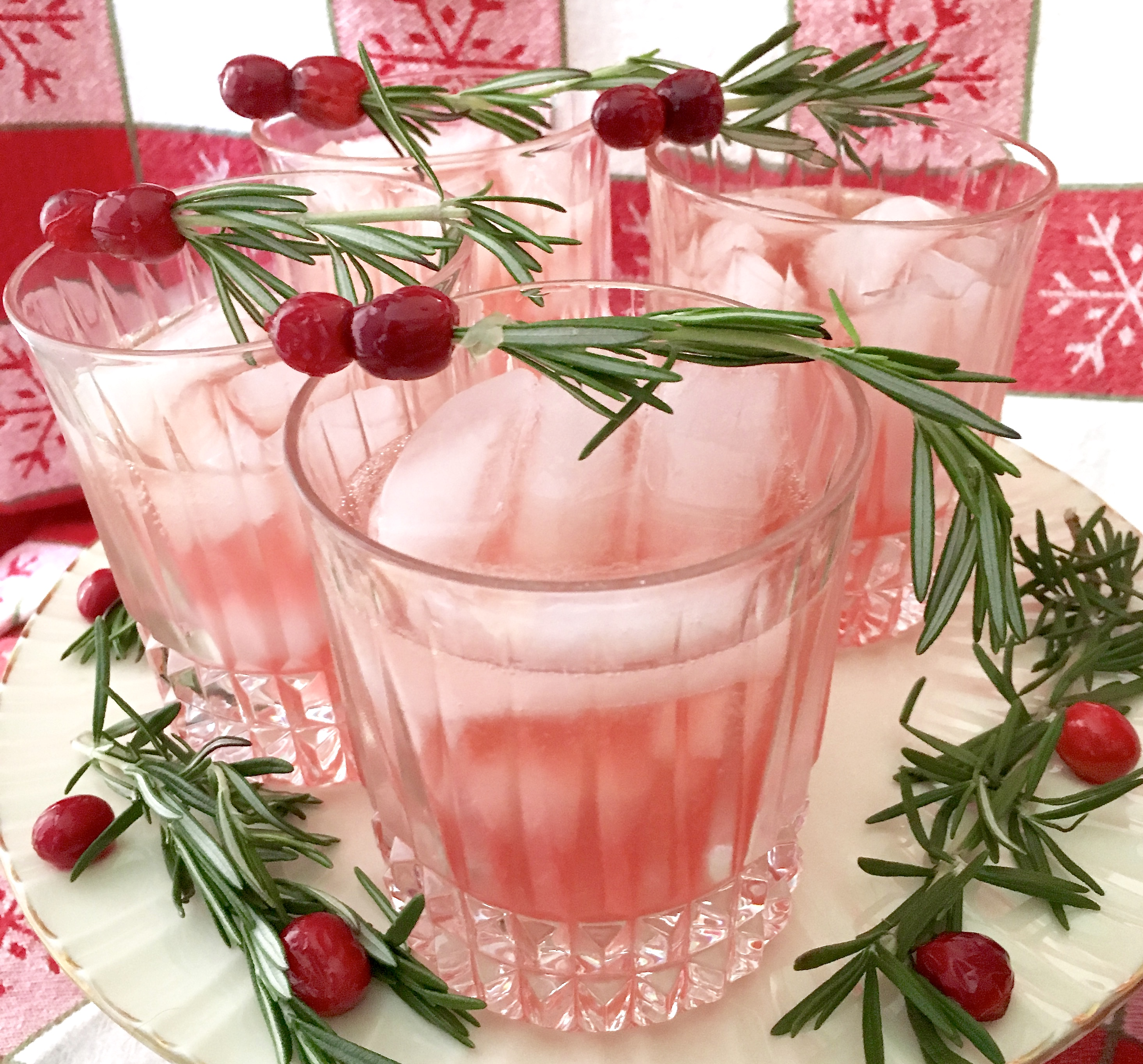 glasses of cranberry rosemary spritzer