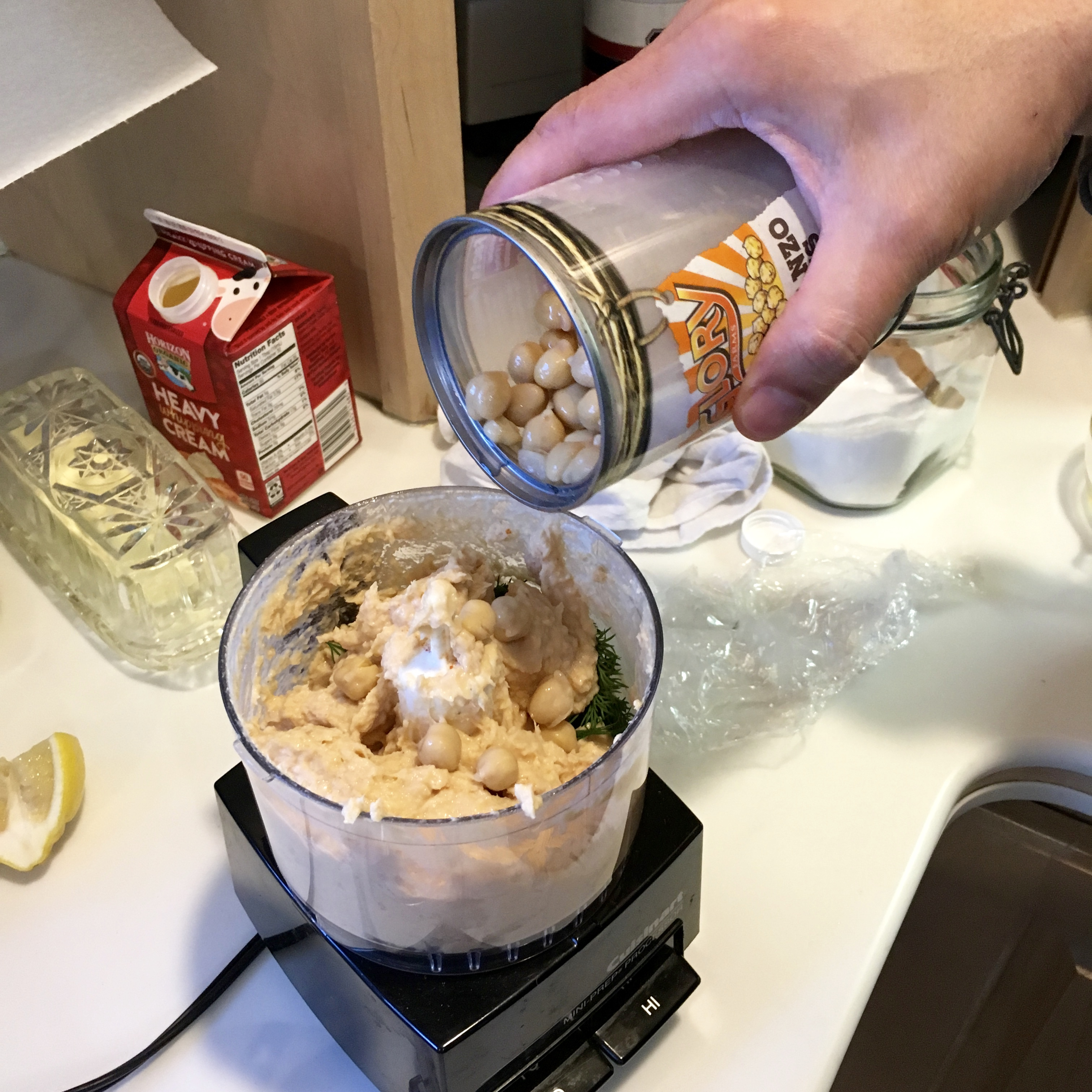 food processor with ingredients