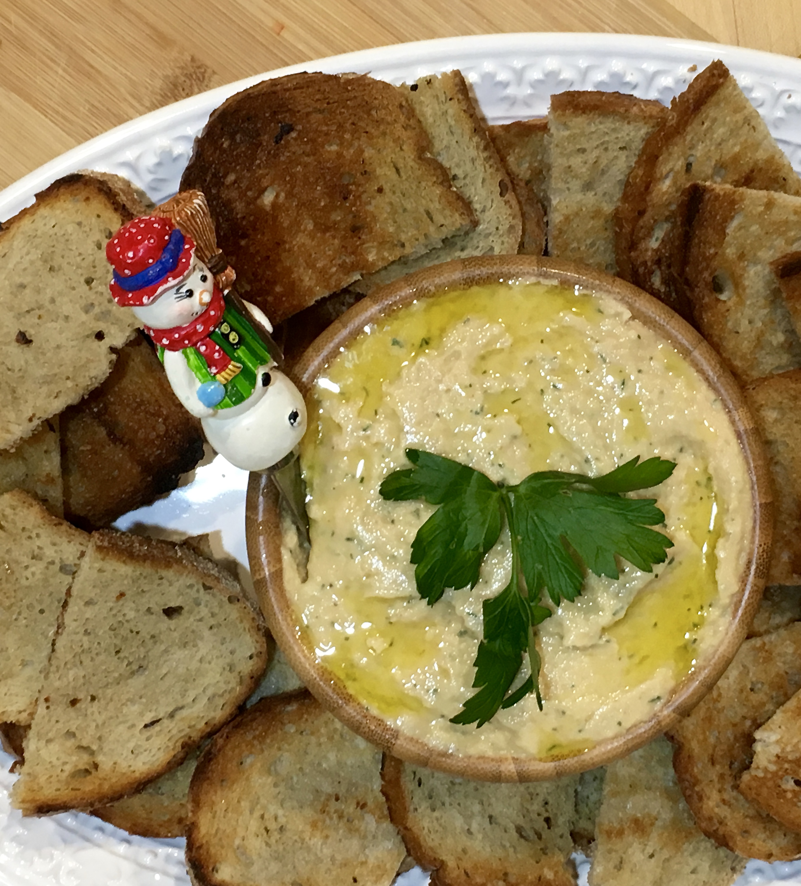 plated smoked trout pate with toasts