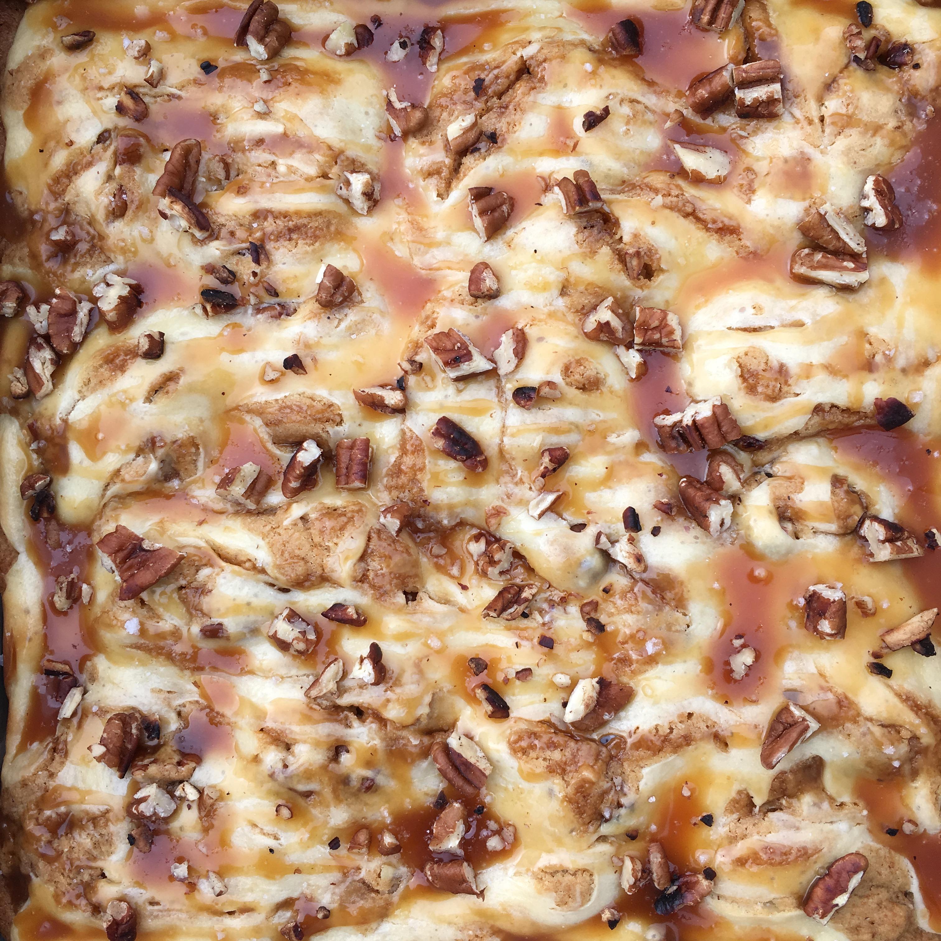 pan of salted caramel cheesecake blondie