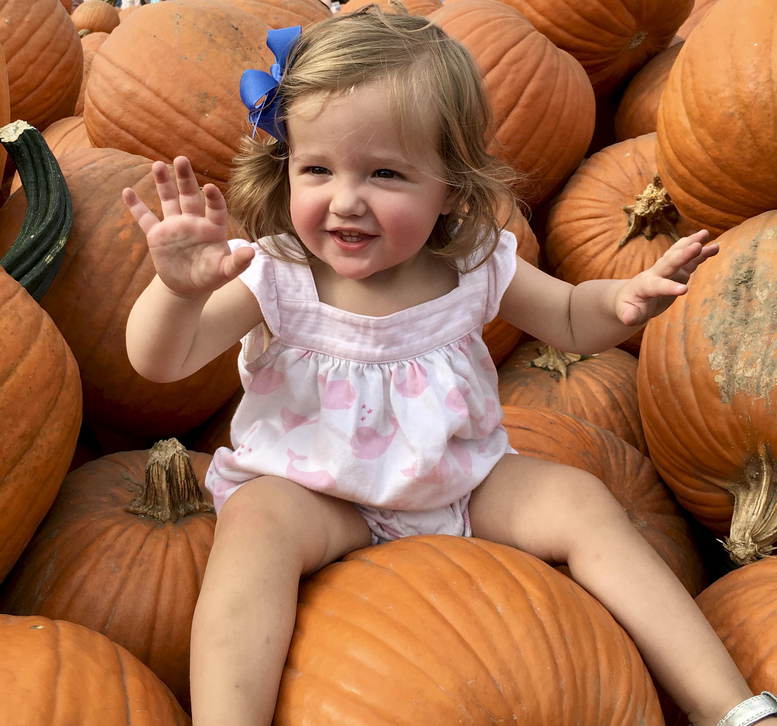 grand daughter in pumpkin patch