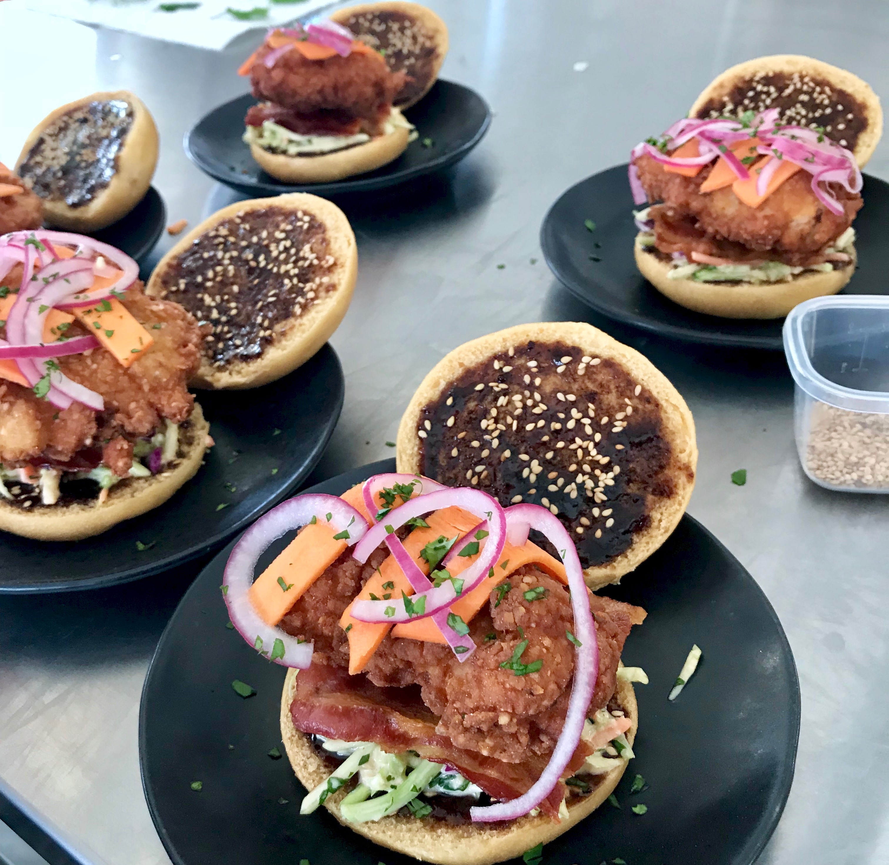 Asian inspired chicken fried sandwich