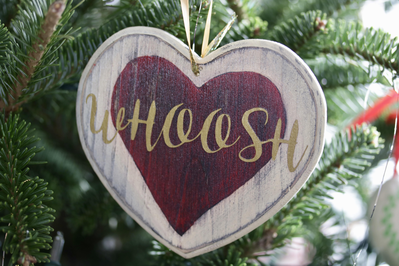 whoosh heart ornament