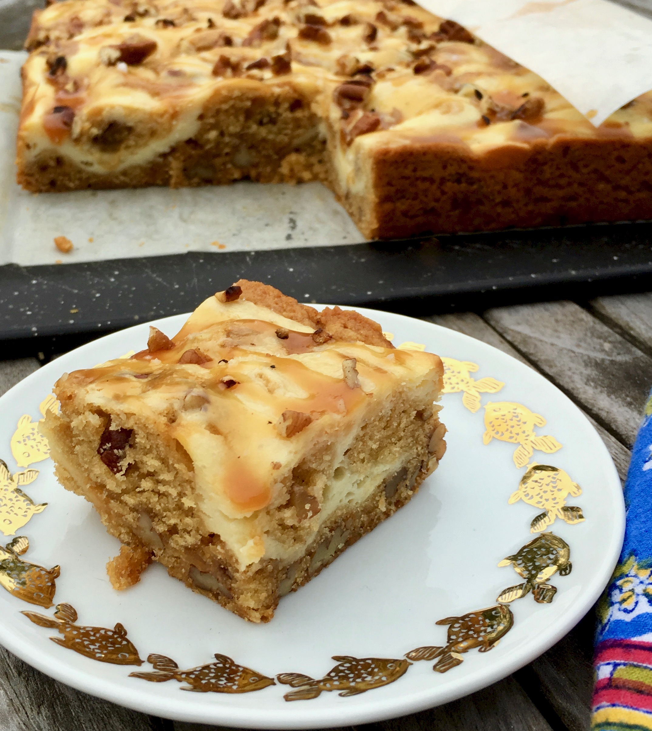 salted caramel cheesecake blondie on a plate