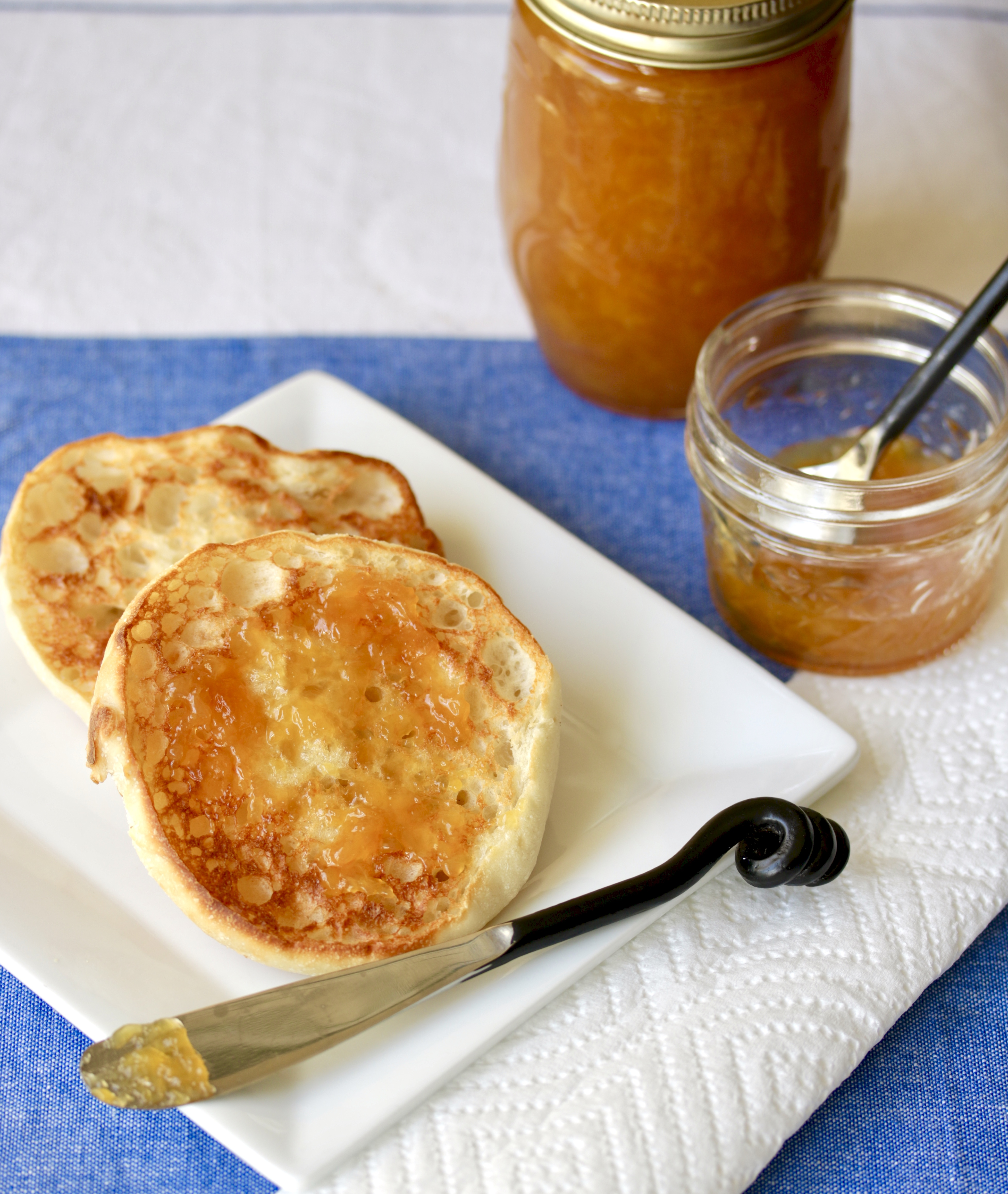 toasted English muffins with peach jam