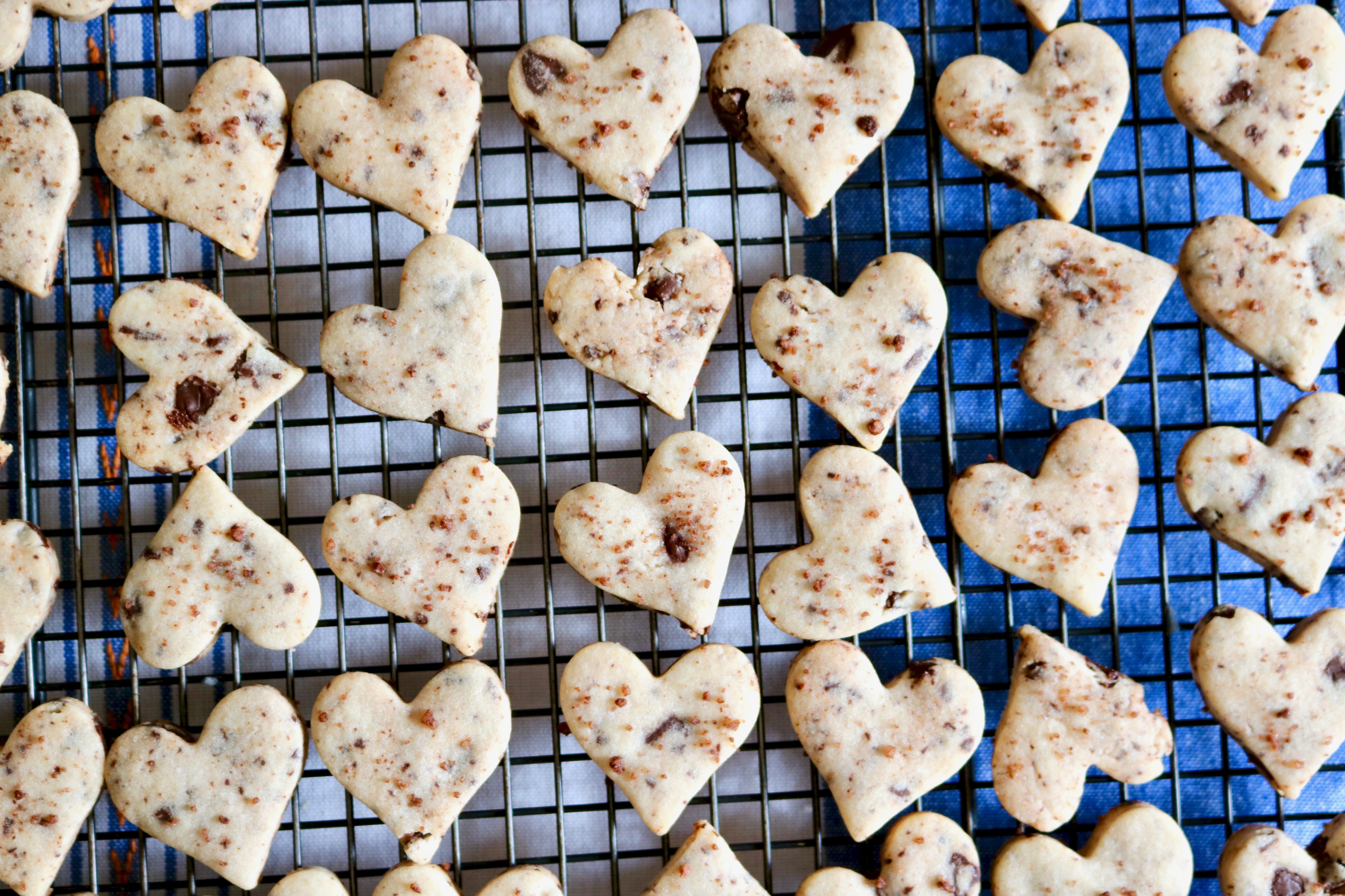 heart shaped shortbread cookies cooling