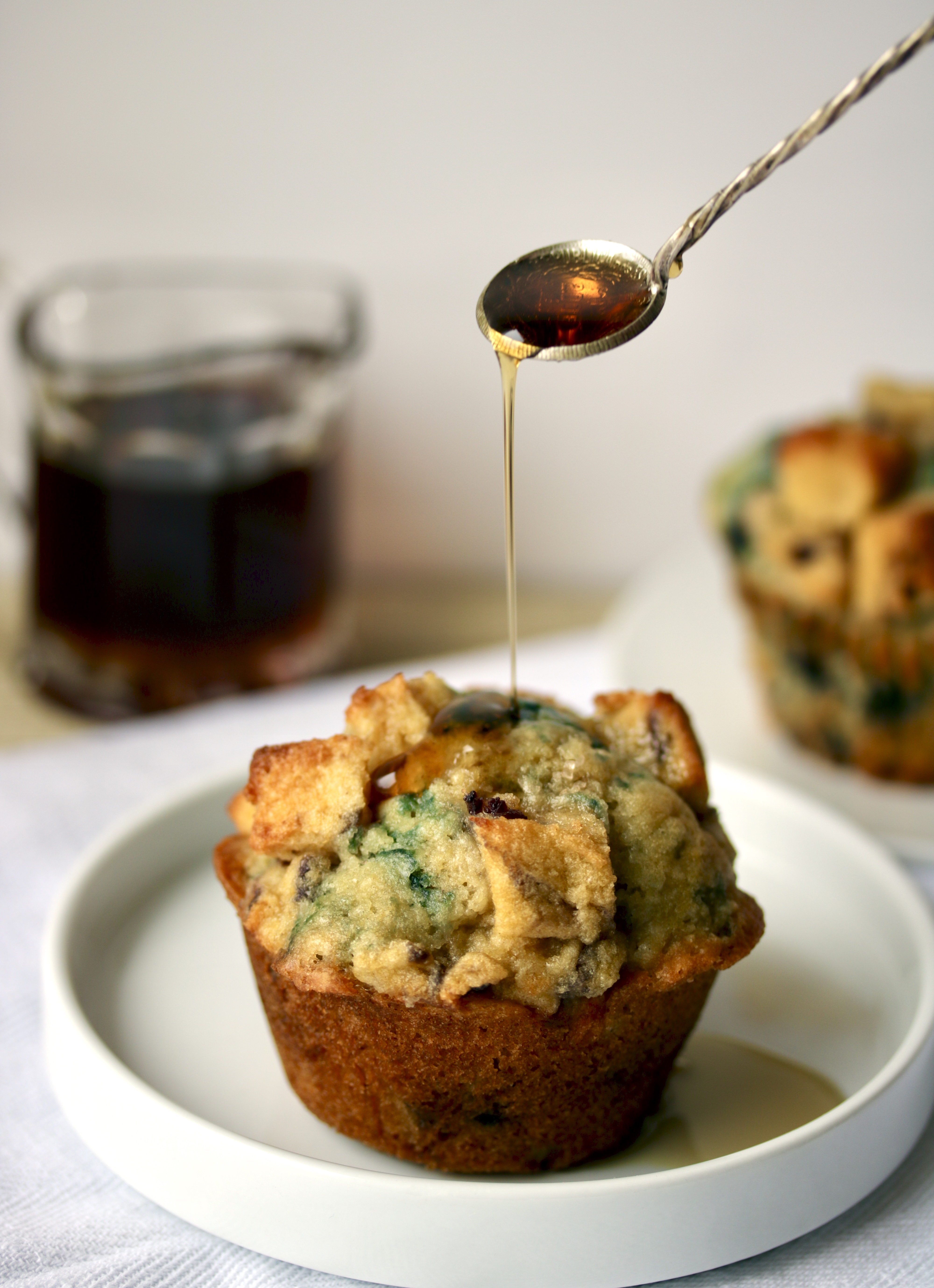 syrup drizzle on plated muffin