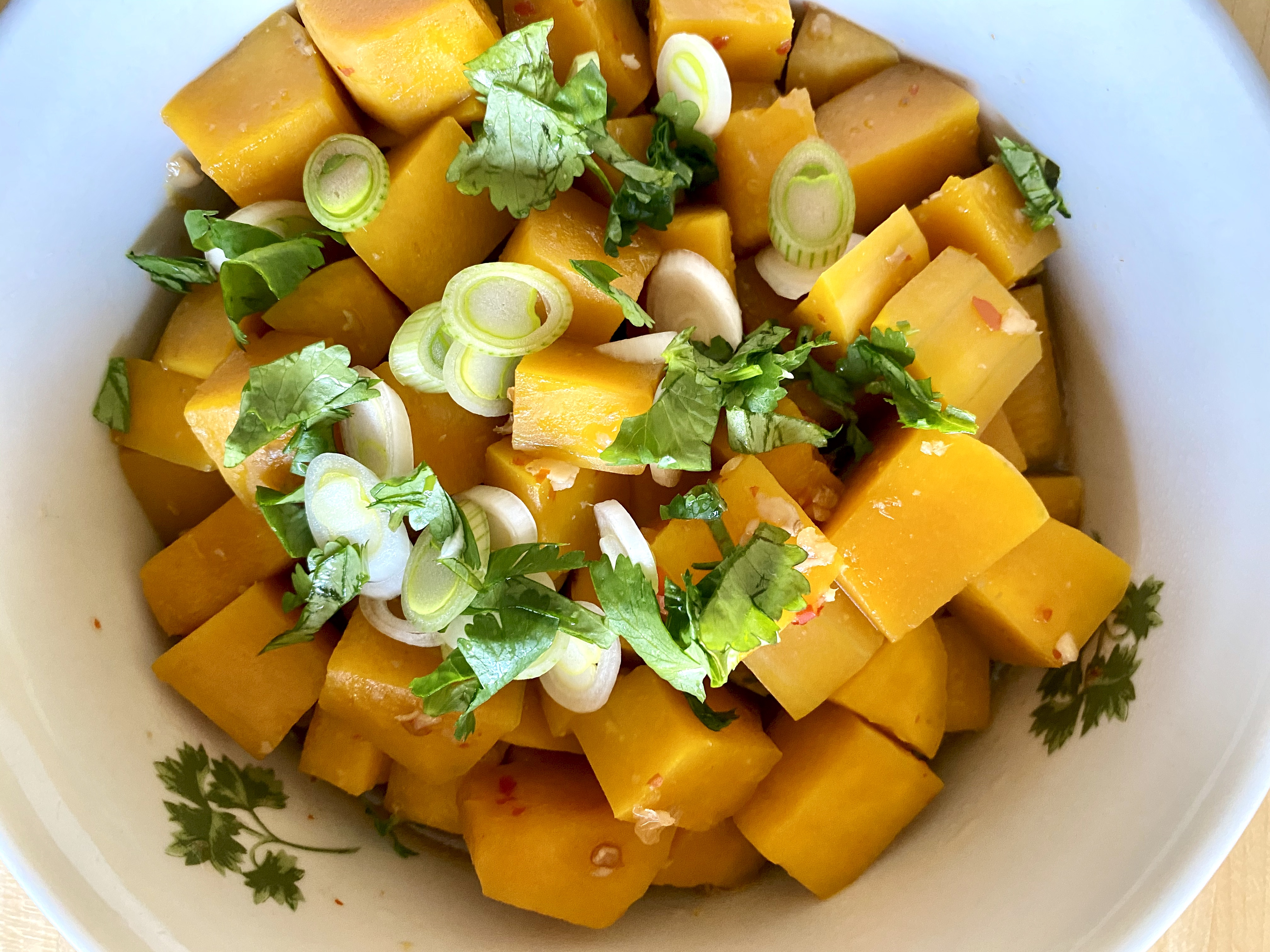 diced butternut squash with green onions