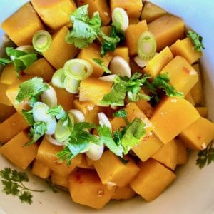 sous vide butternut squash with green onions and cilantro