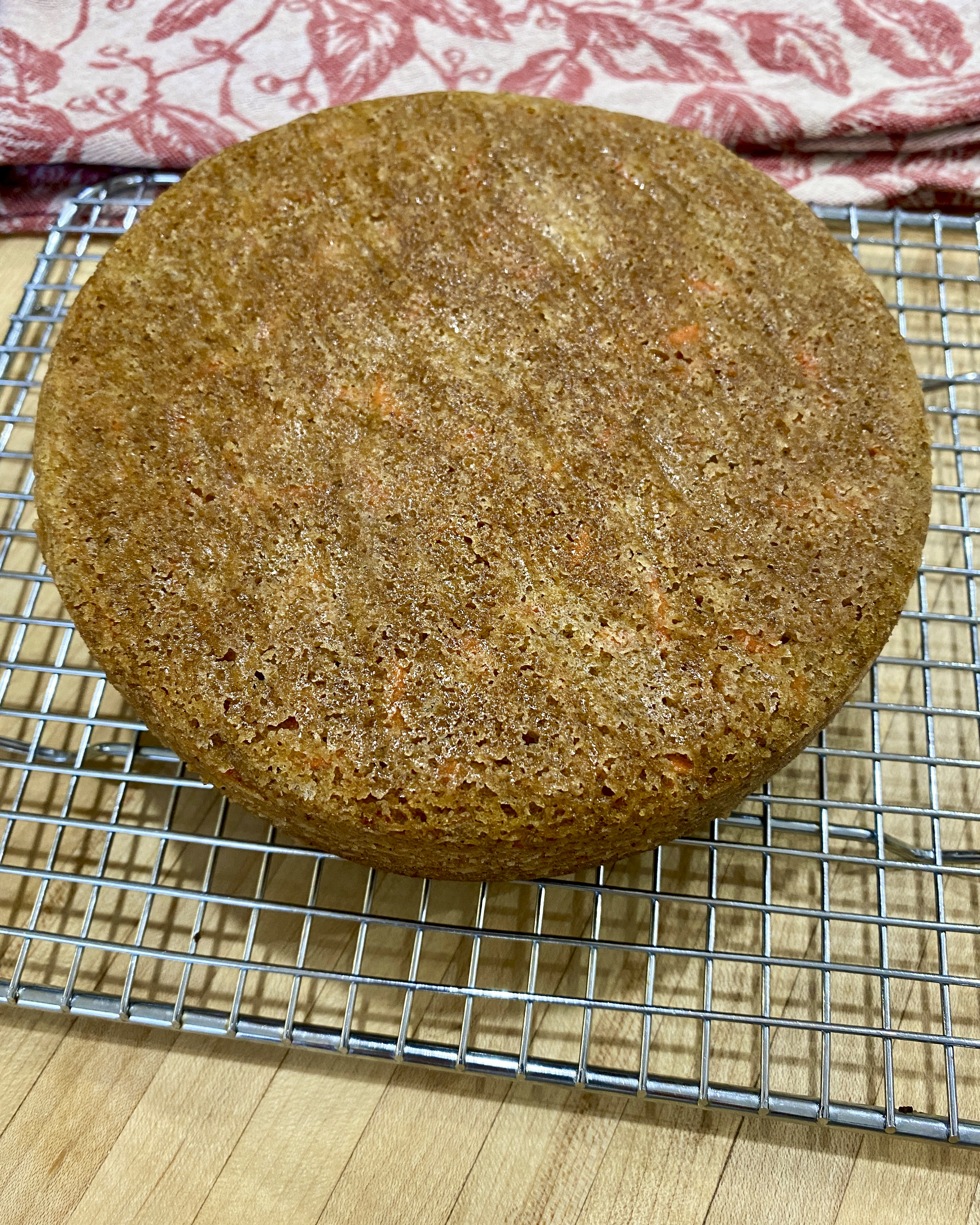 carrot cake on cooling rack