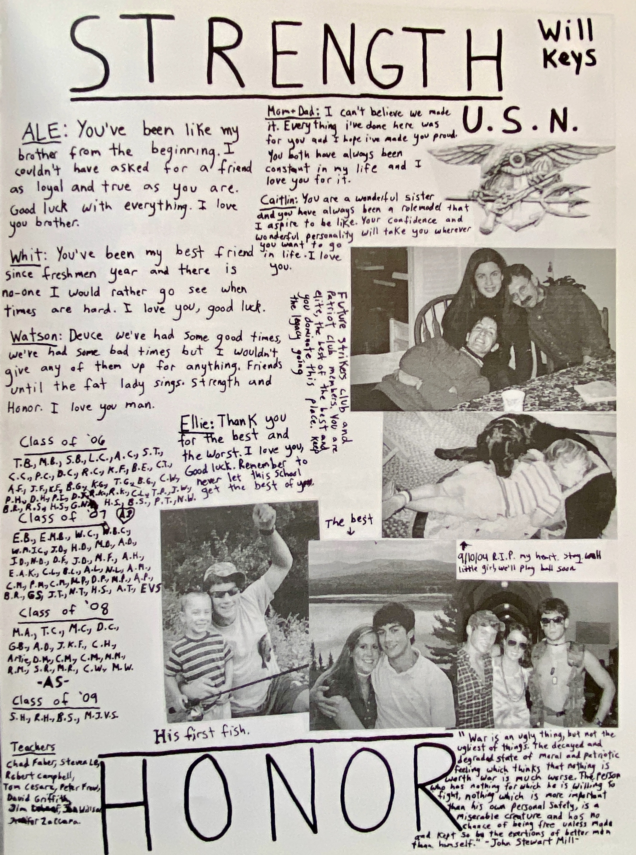 his yearbook page