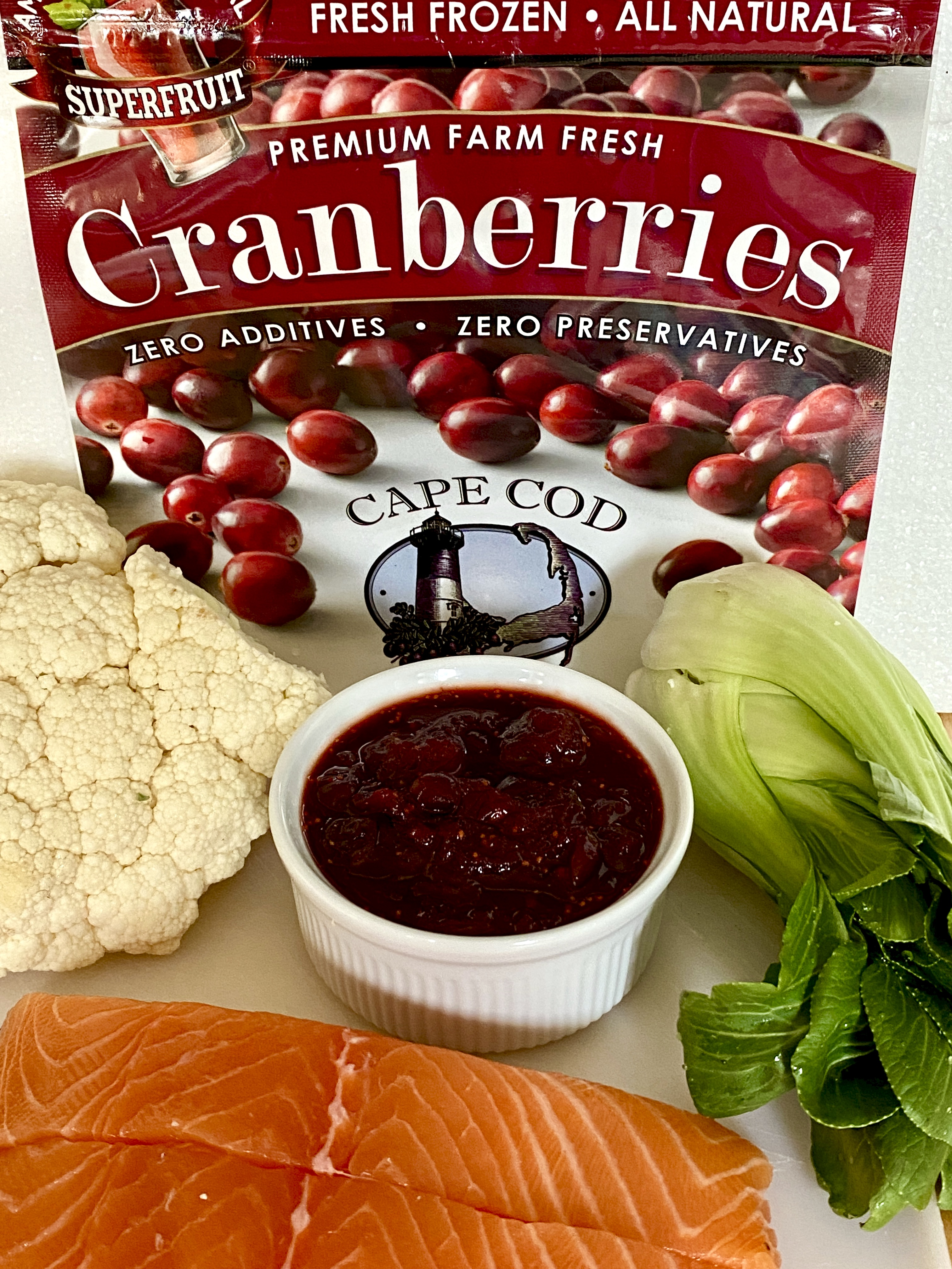 CapeCod Select package with recipe ingredients: salmon, cauliflower, bok choy and cranberries