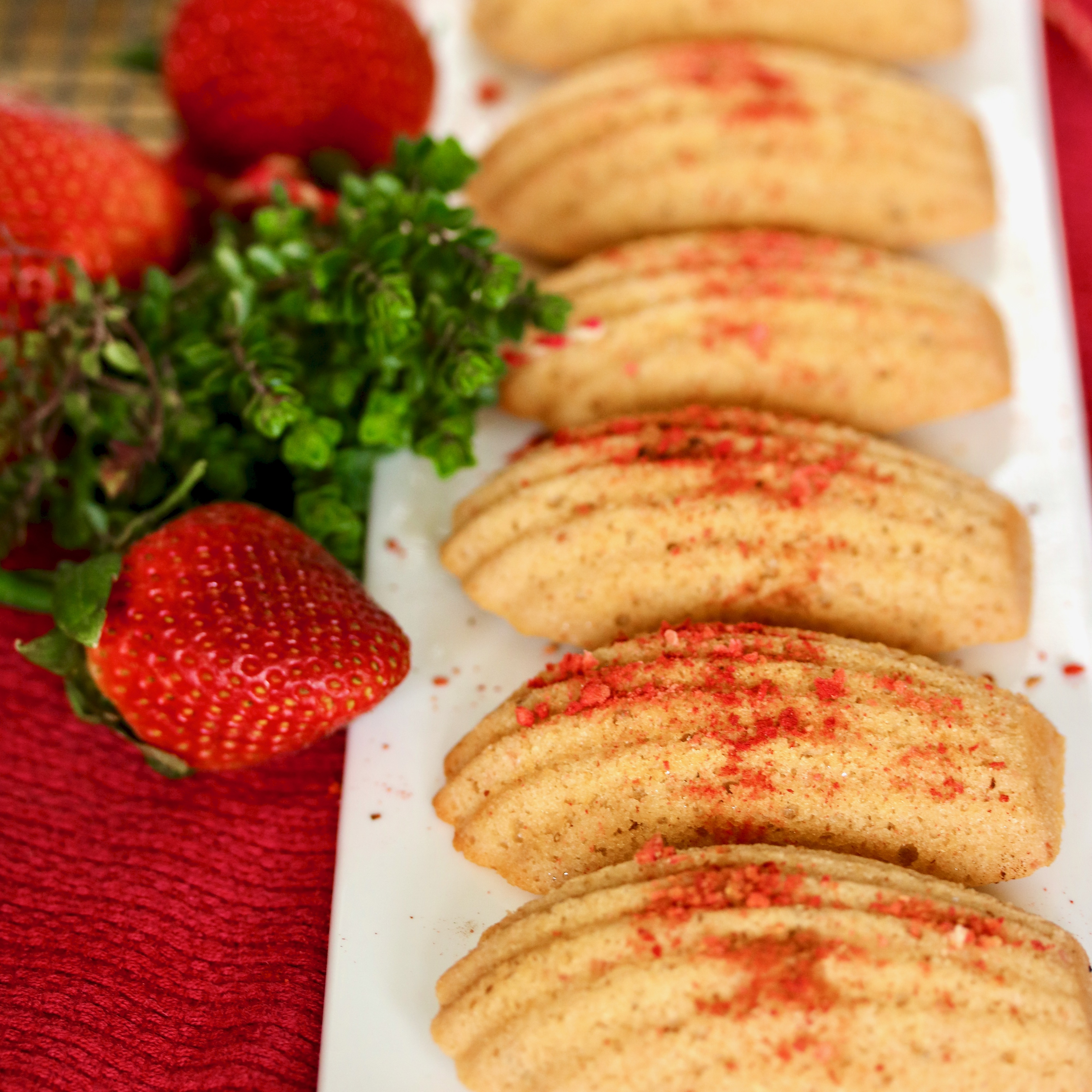 plated strawberry madeleines