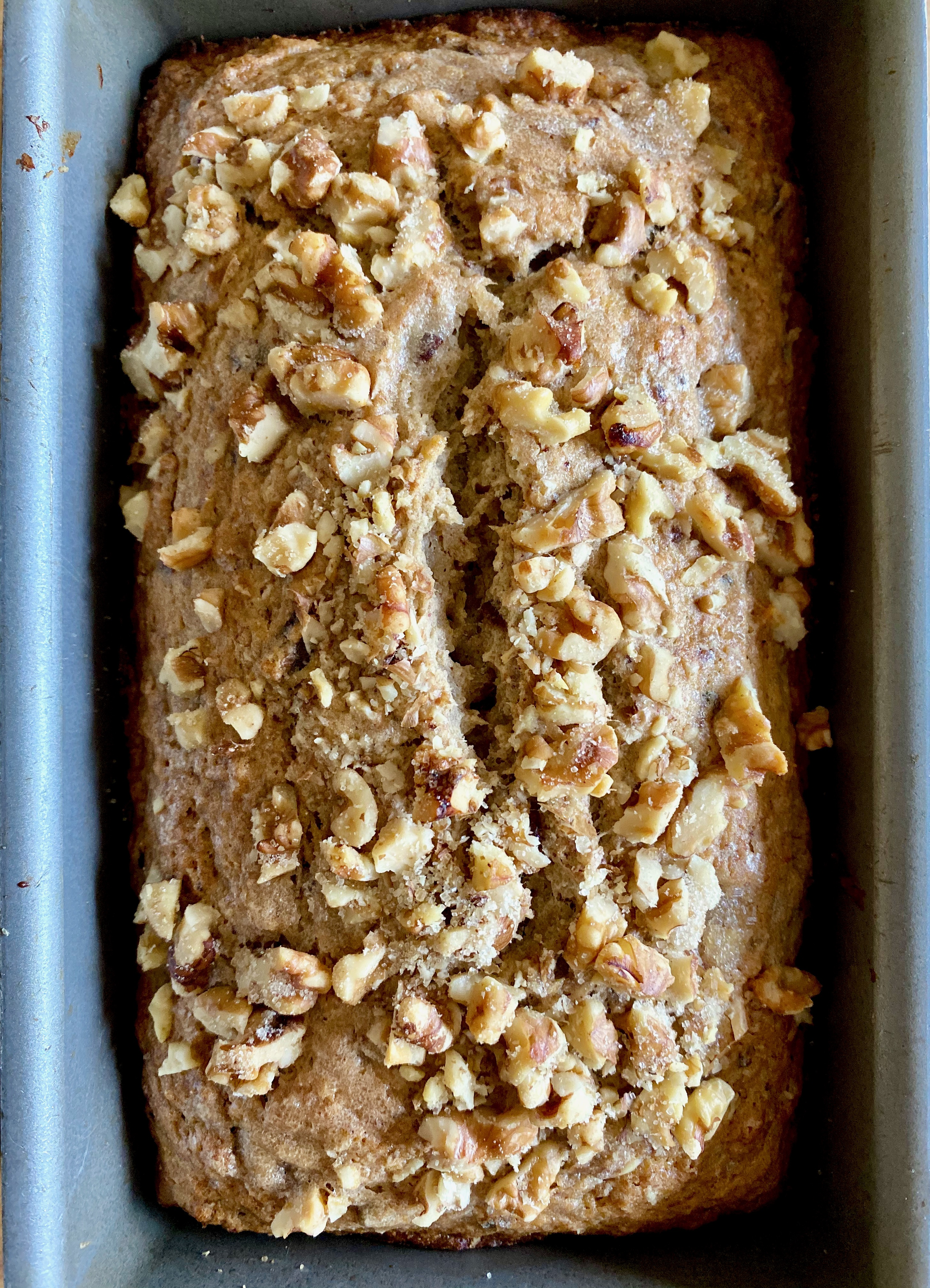 loaf of banana bread in pan