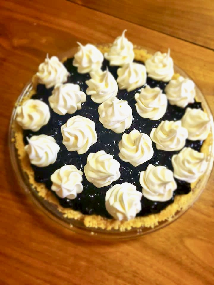the same pie with swirls of meringue
