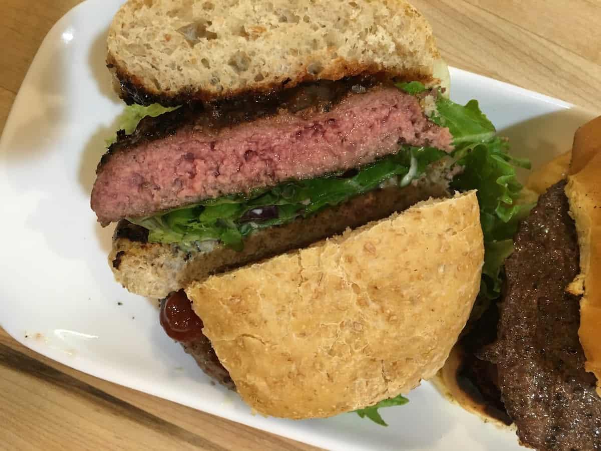 hamburger sliced in half