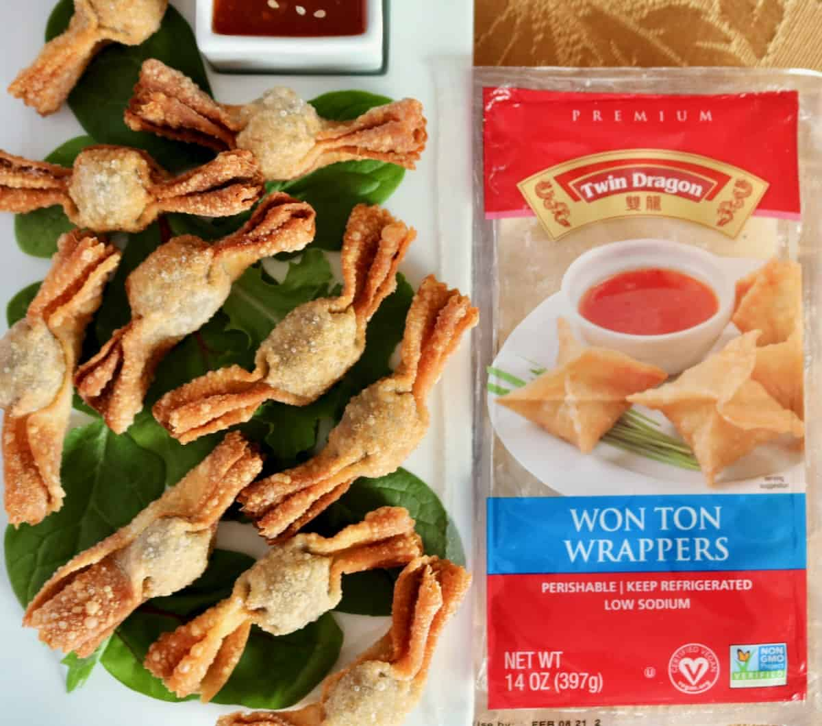 Twin Dragon Won Ton Wrapper package and fried mushroom wonton caramelle