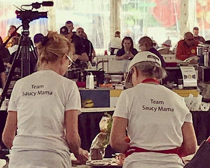 team Saucy Mama cooking together at the world food championships