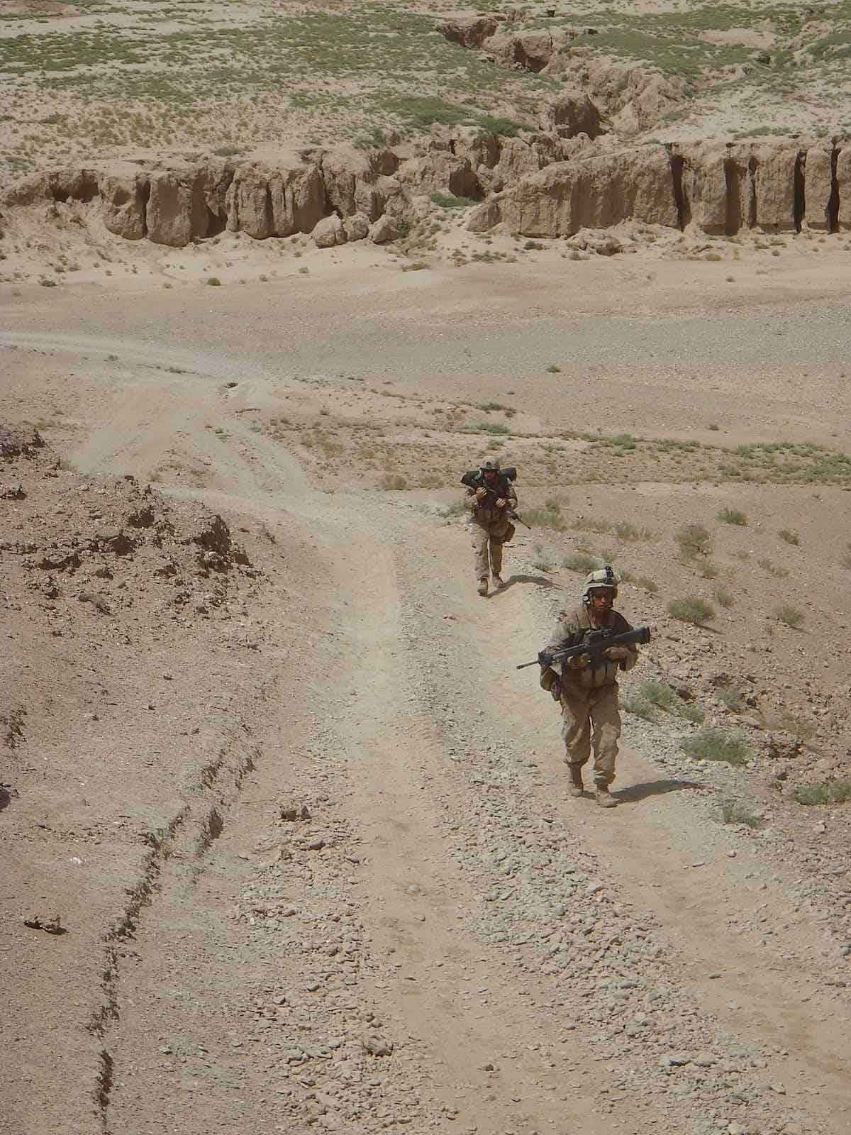 marines marching in Afghanistan