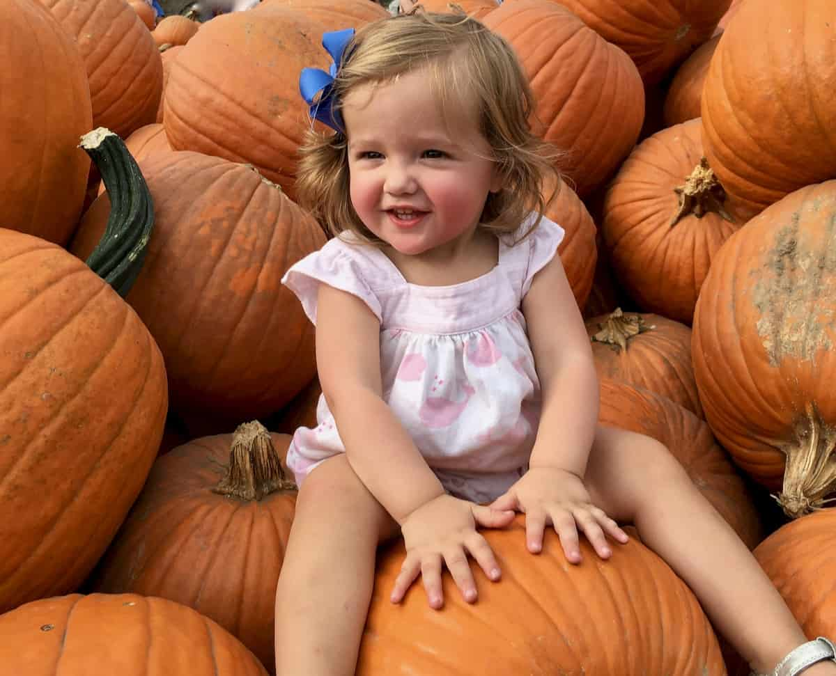 my grand daughter sitting in pile of pumpkins