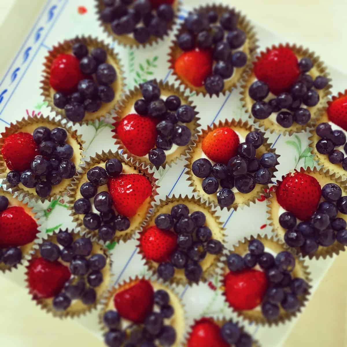 berry topped mini cheesecakes