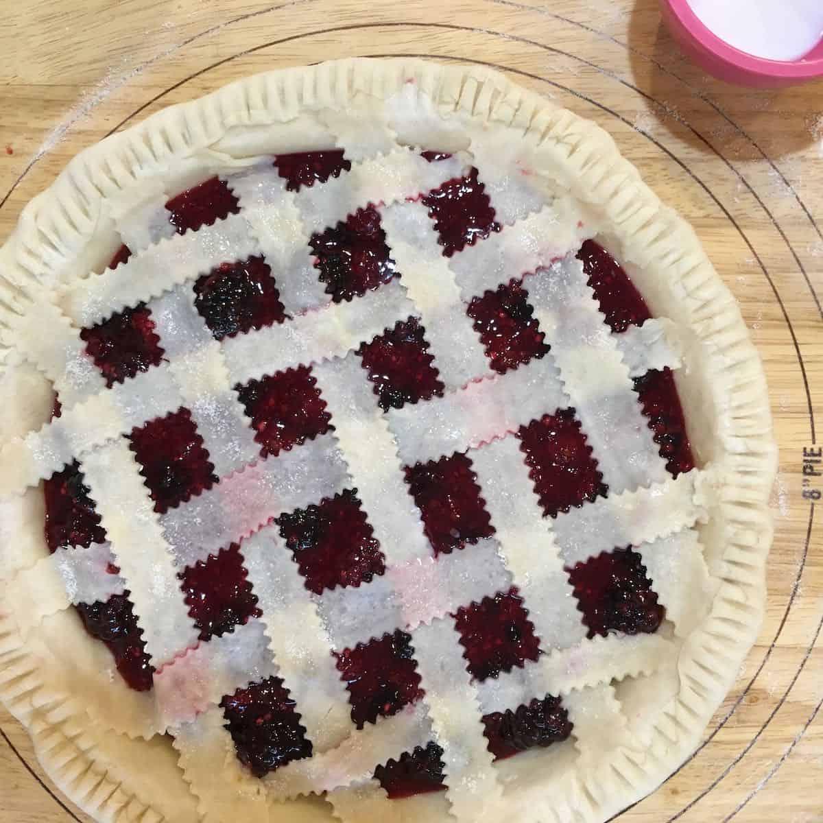 unbaked lattice berry pie