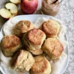 plated biscuits with apples and apple butter