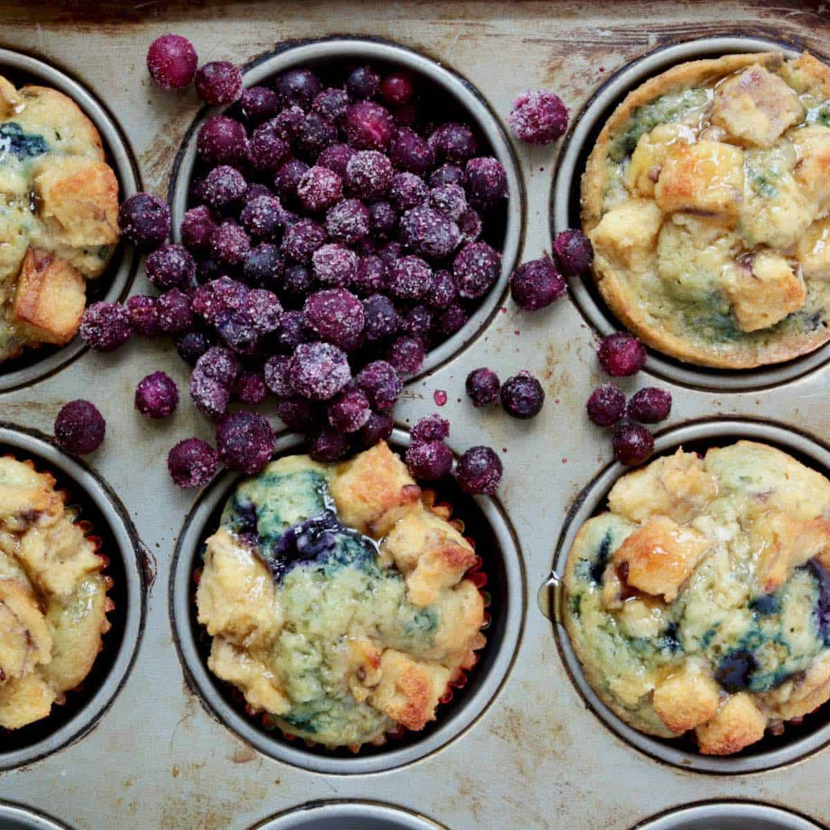 maple blueberry muffins in muffin tin with wild blueberries