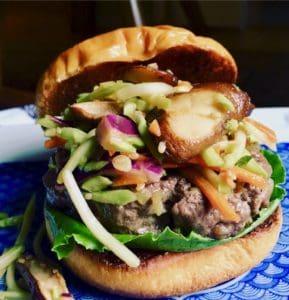 burger with shiitake slaw