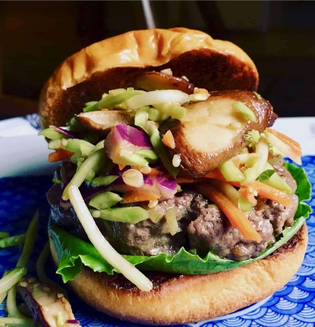 stir fry shitake burger with slaw