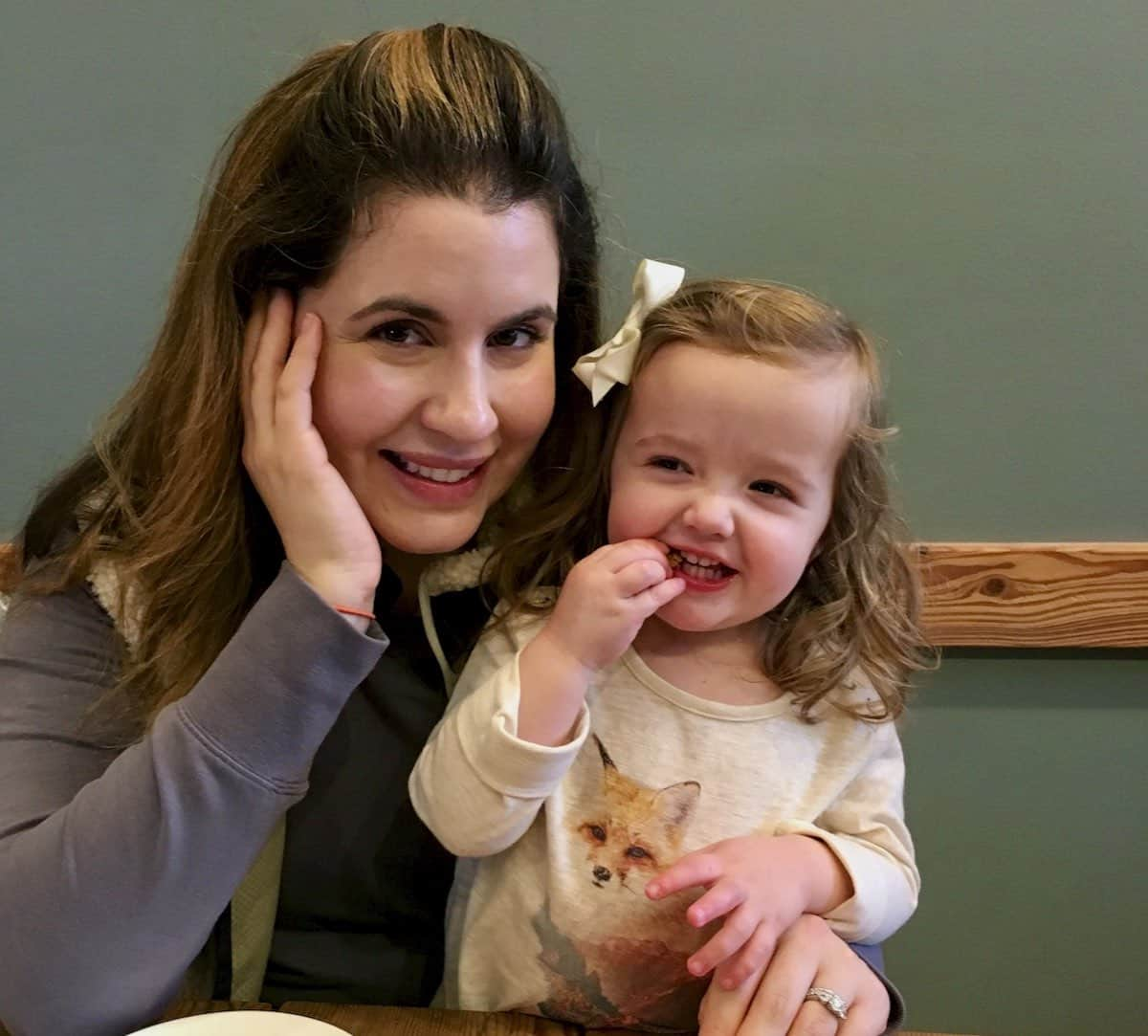 my daughter and grand daughter in a coffee shop