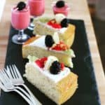 sliced cake and smoothies
