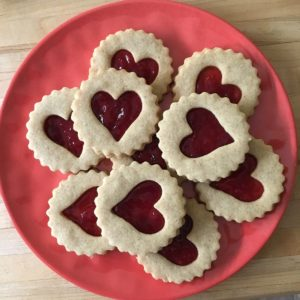plated linzer heart cookies