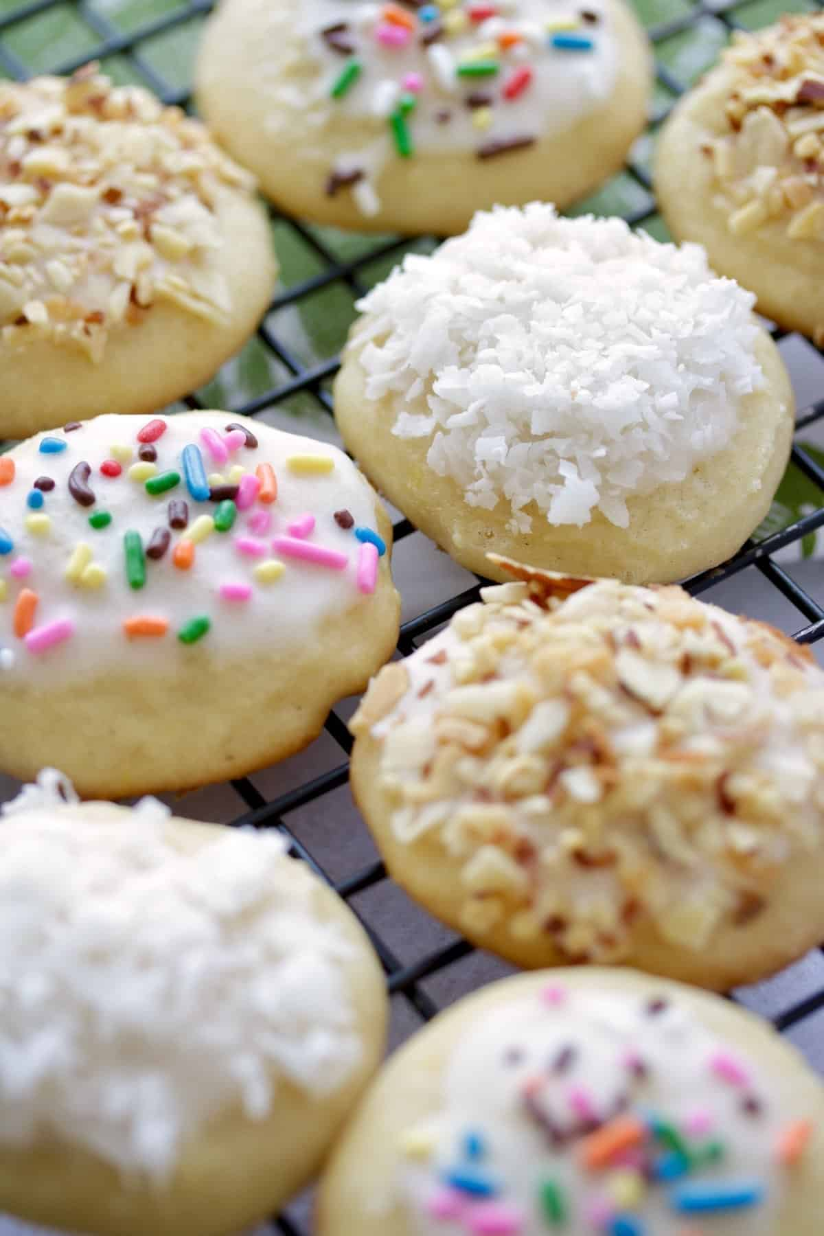 Italian cookies with sprinkles and coconut