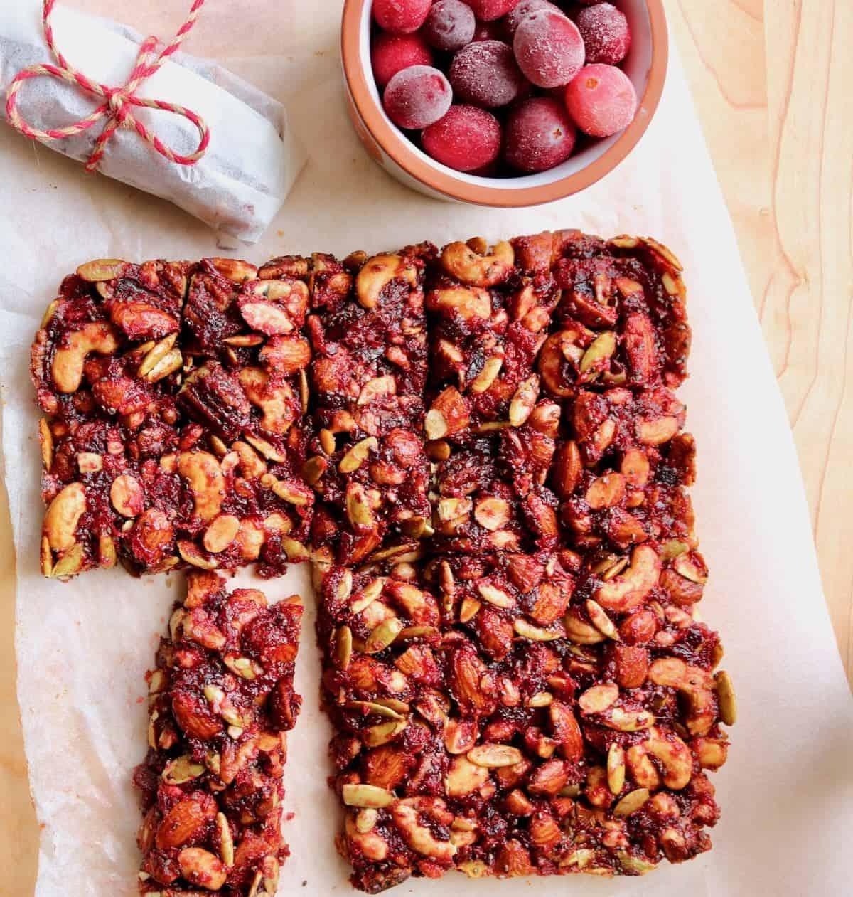 wrapped bars, sliced bars, fresh cranberries