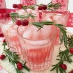 glasses of cranberry pear rosemary spritzer