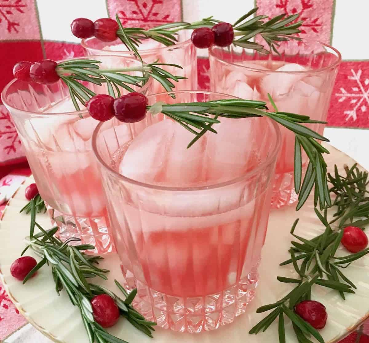 glasses of cranberry pear rosemary spritzer best cranberries for all seasons