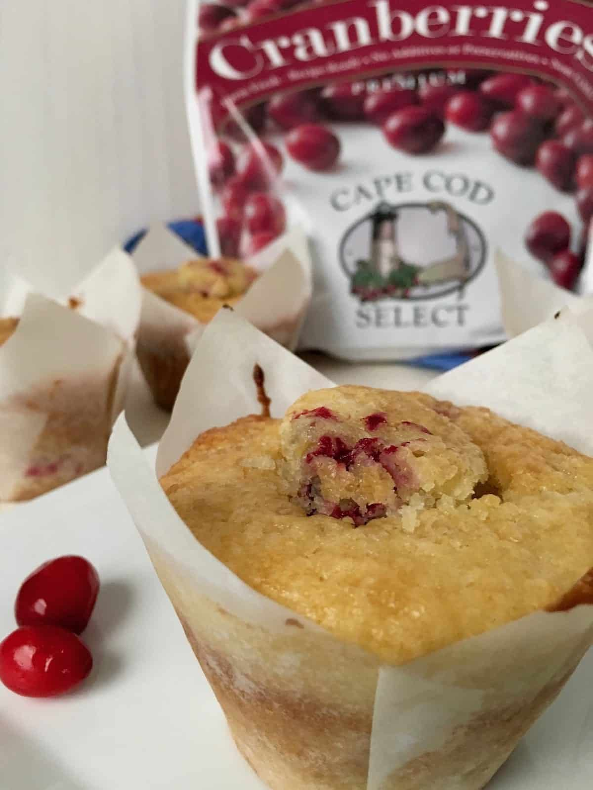 cranberry lemon muffins with product package is a best cranberry recipe