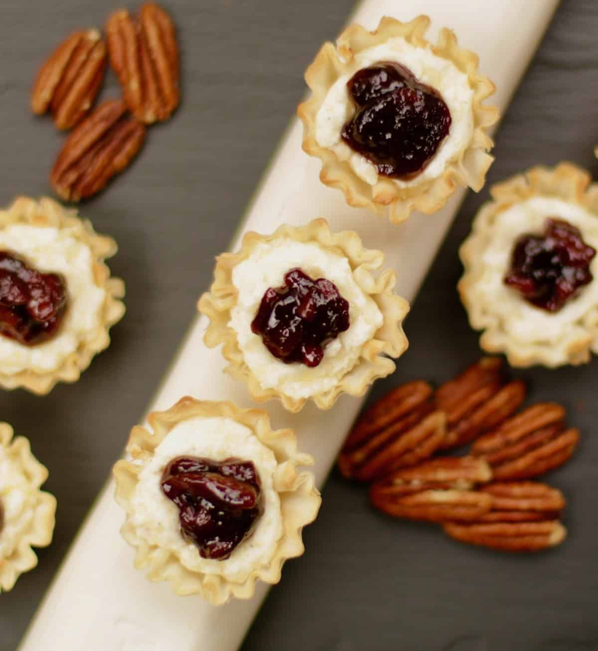 phyllo cup cheese appetizer with pecan elderberry jam