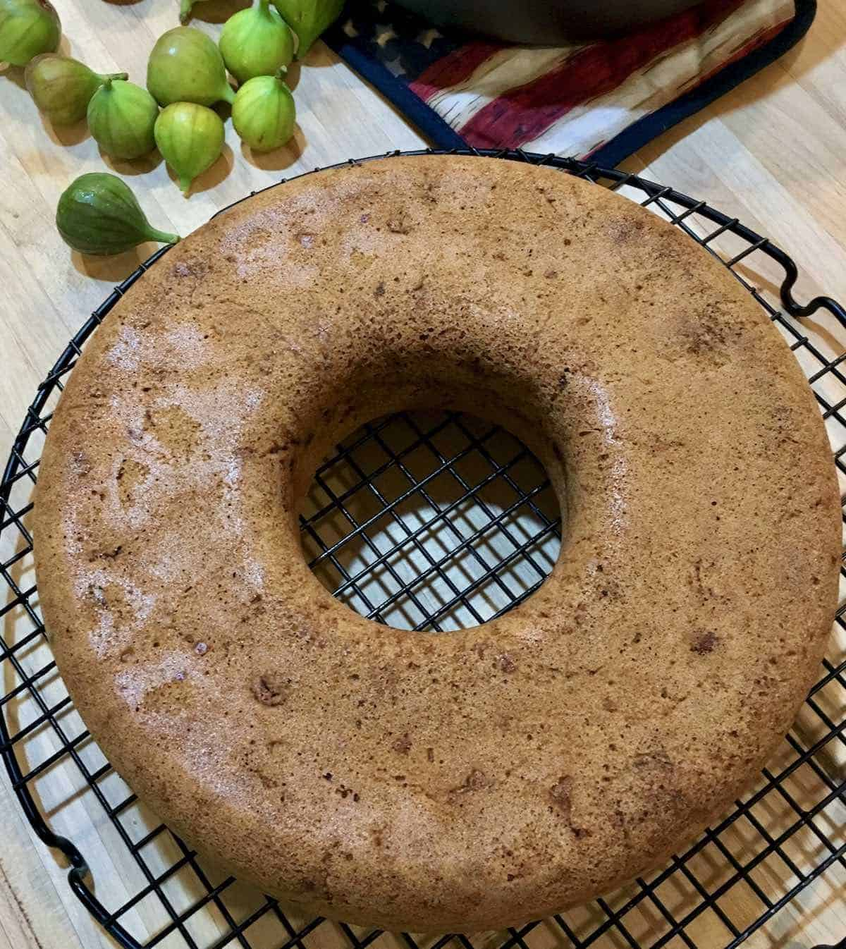 baked fig cake with fresh figs