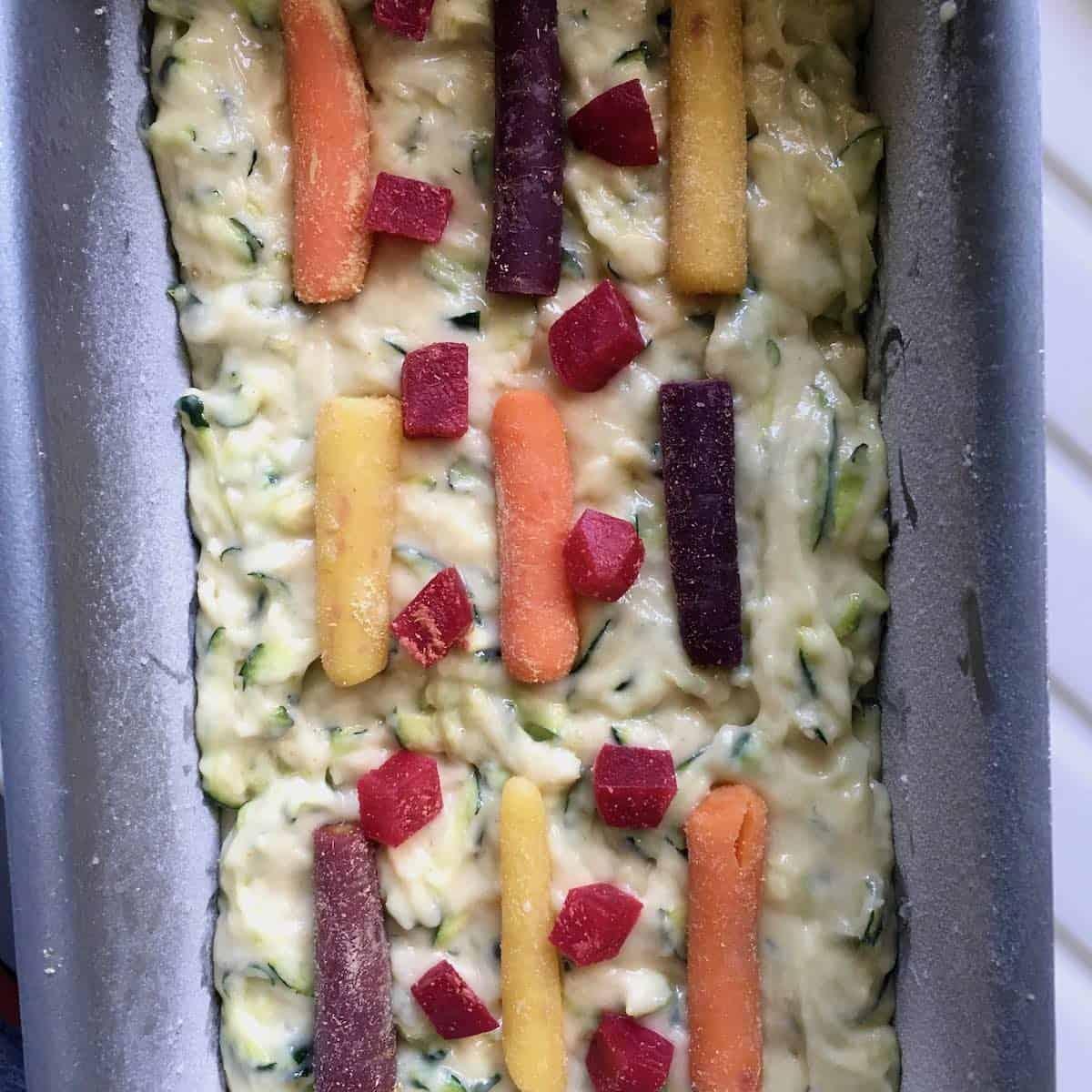 batter in pan for funfetti zucchini bread
