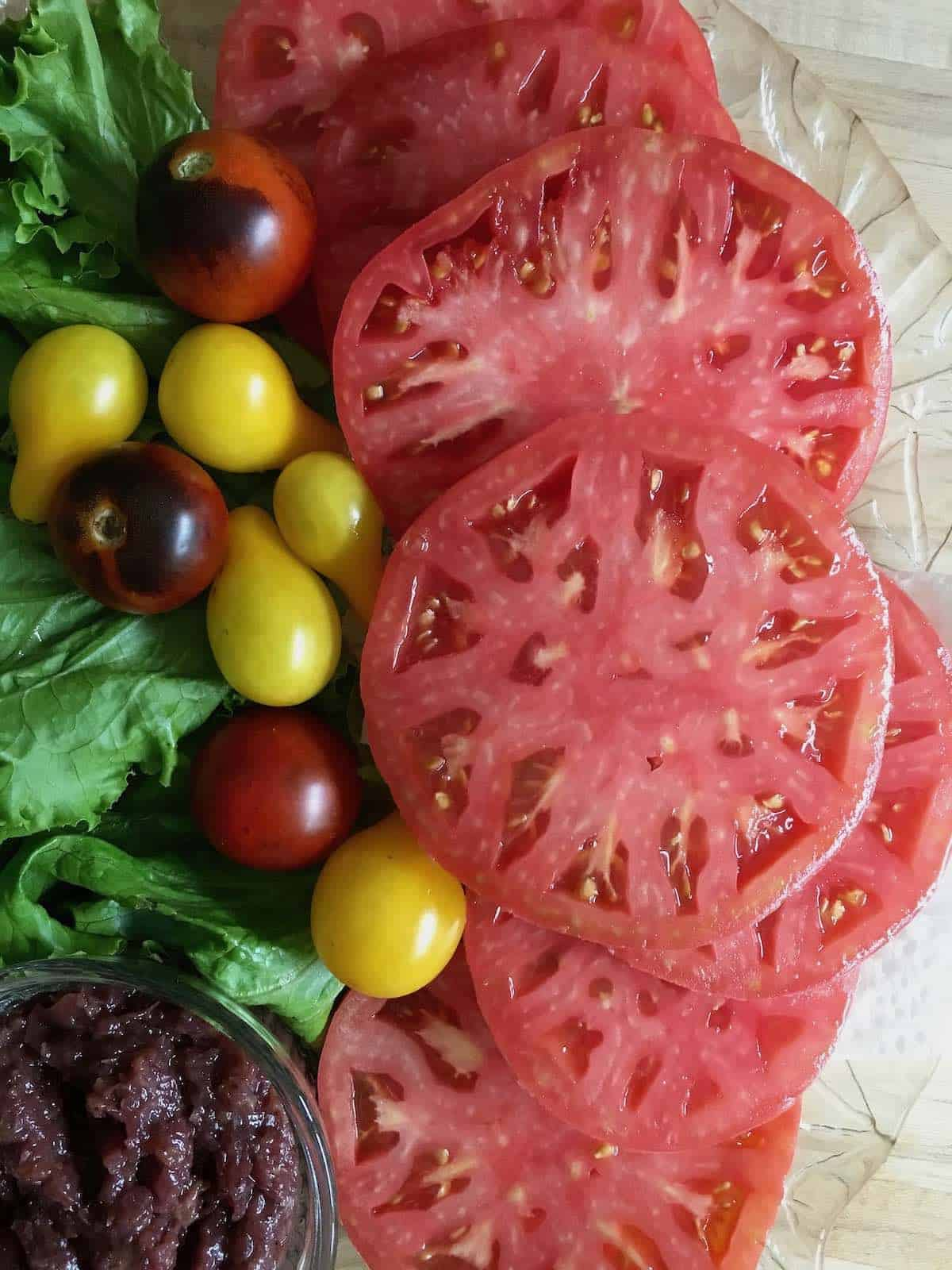 fresh sliced garden tomatoes