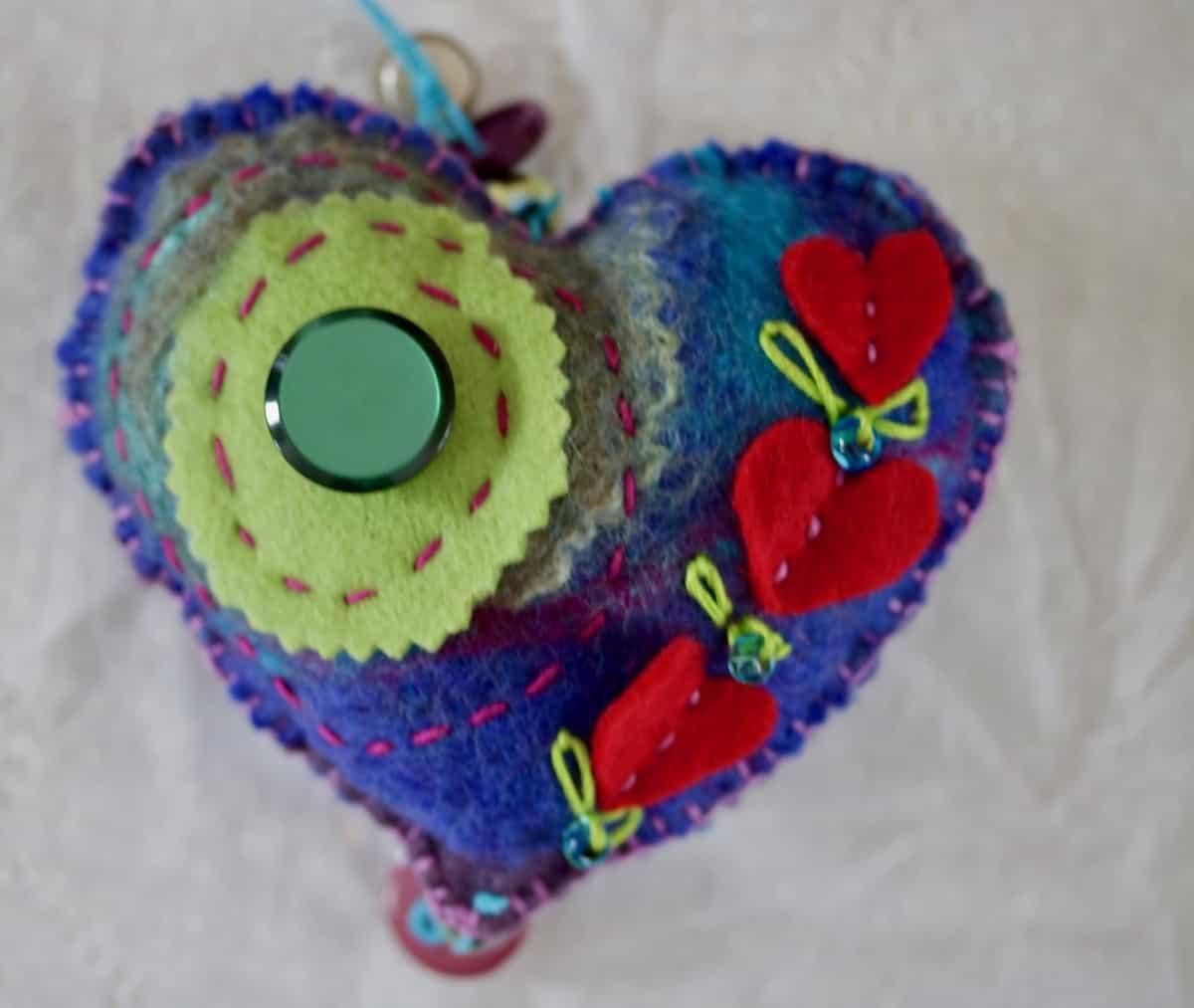 artistic heart made from felt