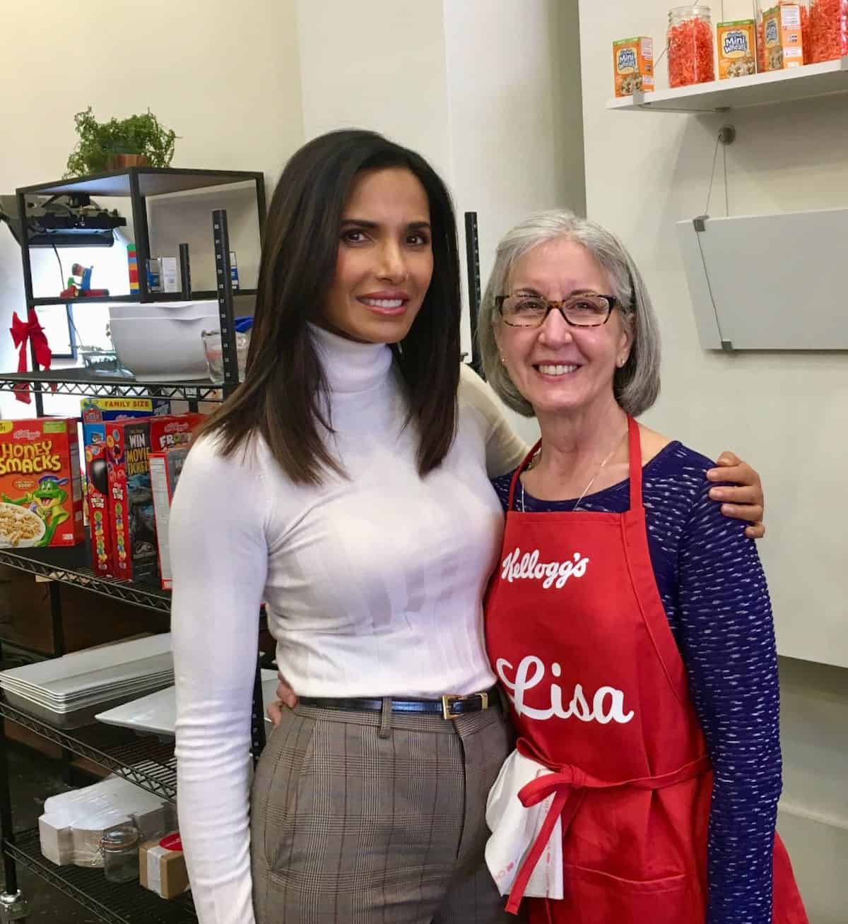 me with Padma Lakshmi in Kellogg's kitchen